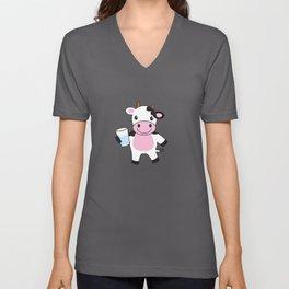 Baby Cow Cute Farm Animal Unisex V-Neck