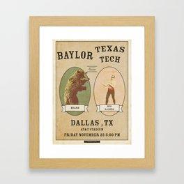 Bear Kunckle - Baylor vs TTU 11.25.16 Framed Art Print