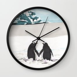 Penguins in love Wall Clock