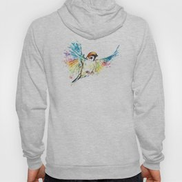 Colorful Sparrow Watercolor Painting Hoody