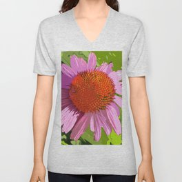 Echinacea, coneflower, purple pink flower Unisex V-Neck