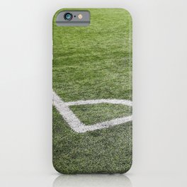 Corner football field, Corner chalk mark artificial grass soccer field iPhone Case