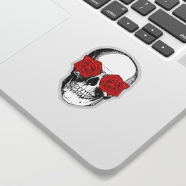 Skull and Roses | Grey and Red Sticker
