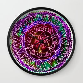 Colorwheel Mandala Purple Wall Clock