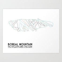 Boreal Mountain, CA - Minimalist Trail Art Art Print