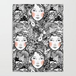 Fantails and Rabbits Ink Design Poster