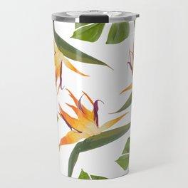 Strelitzia and Monstera white Travel Mug