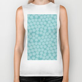 Artistic hand painted pastel teal white snow flakes pattern Biker Tank