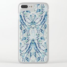 Green Blue Leaf Flower Paisley Clear iPhone Case