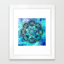 Galaxy Mandala Aqua Indigo Framed Art Print