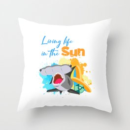 The great hammerhead shark Tee makes a great gift for shark lover Awesome Tee Living life in the sun Throw Pillow