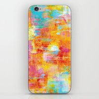 clueless iPhone & iPod Skins featuring OFF THE GRID Colorful Pastel Neon Abstract Watercolor Acrylic Textural Art Painting Nature Rainbow  by EbiEmporium