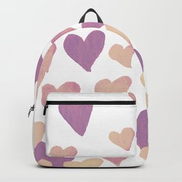 Valentine's Day Watercolor Hearts - pastel pink Backpack