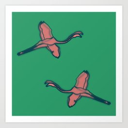 Pink Flamingo watercolor pattern emerald Art Print