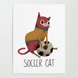 Silly Red Soccer Cat Poster