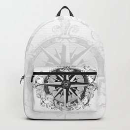 Black and White Scrolling Compass Rose Backpack