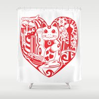 onesie Shower Curtains featuring isabelle by Gray
