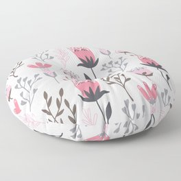 Pink and Gray Tulips Floor Pillow