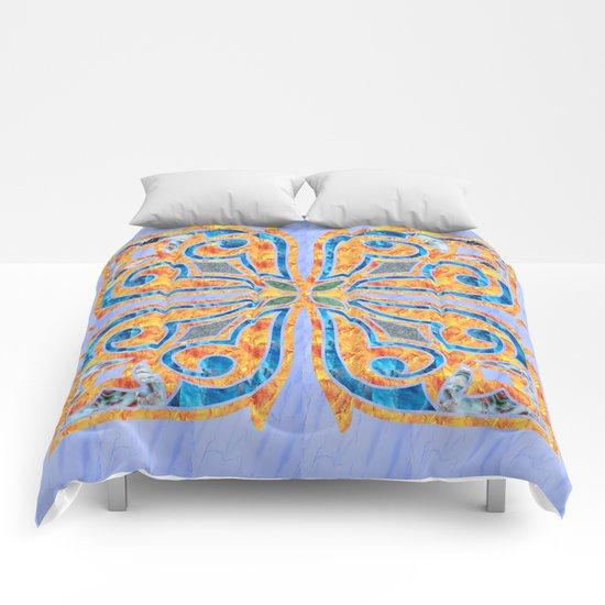 Blue Oriental Tile 02 Comforters