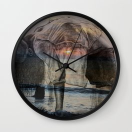 Girl Doing Yoga at the Beach - pastel colors, double exposure sunrise/sunset Wall Clock