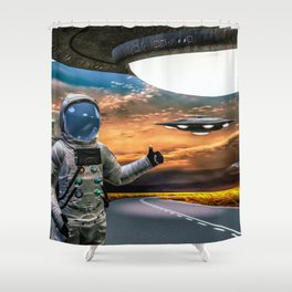 Hitchhiking Around The Universe Shower Curtain