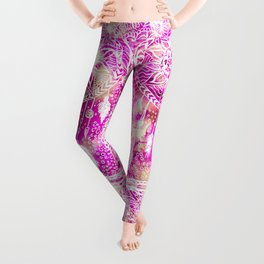 Bright pink watercolor boho dreamcatcher floral pattern Leggings