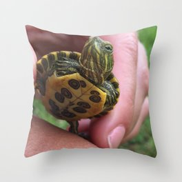 Baby red-eared slider turtle Throw Pillow