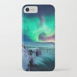 Aurora Borealis Over A Waterfall iPhone Case