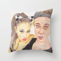 ariana grande Throw Pillows featuring Ariana and Justin by Share_Shop