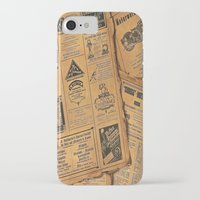 newspaper iPhone & iPod Cases featuring old newspaper by Marianna Burk