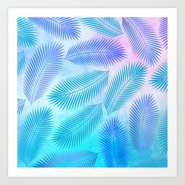 Feathers on Watercolor Background Art Print
