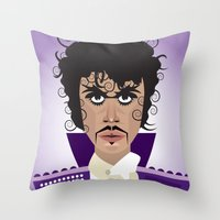 prince Throw Pillows featuring Prince by Joe Pugilist Design