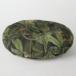 Monkey Vintage Botanical Night Jungle Garden Floor Pillow
