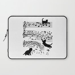Cat Music Notes Clef Cats Lover Laptop Sleeve