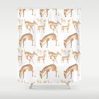 fibonacci Shower Curtains featuring Fawn Pattern by Alex Sawatzky