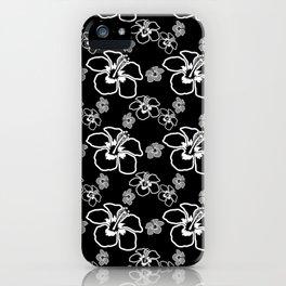 Black And White Hibiscus Hawaiian iPhone Case