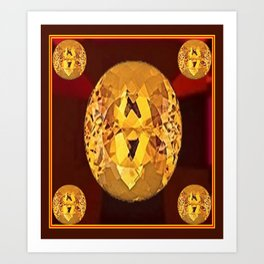 November Babies Golden Topaz Birthstones On Burgundy Color. Art Print