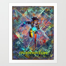 Tracer - O.W. Gamer Comic Art Superhero PS4 XBox One Comic Collage Art Print
