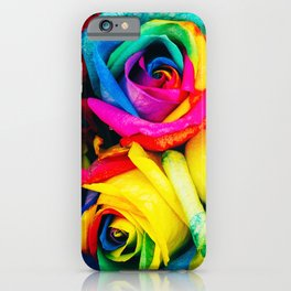 Modern multicolor artistic abstract roses flowers pattern iPhone Case