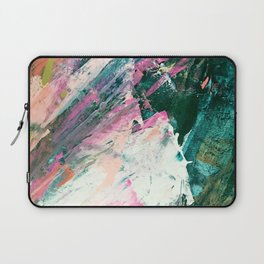 Meditate [5]: a vibrant, colorful abstract piece in bright green, teal, pink, orange, and white Laptop Sleeve