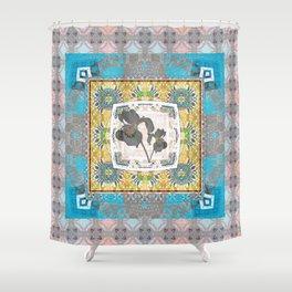 Secret Garden Boho Iris Floral Quilt Shower Curtain