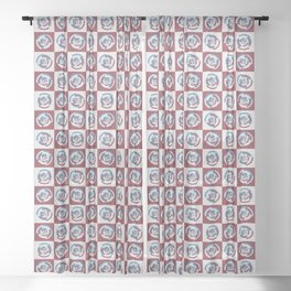 Spinning colourful rings on red and grey chessboard Sheer Curtain