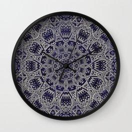 Cream Colored Mandala in Dark Blue Background Wall Clock