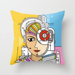 Mujer Robot Throw Pillow