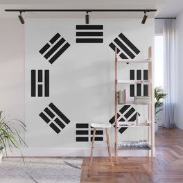 Black Hexagon I ching Feng Philosophy Wall Mural