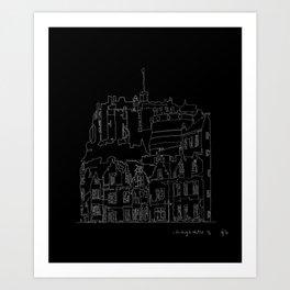 Edinburgh Castle in one continuous line Art Print