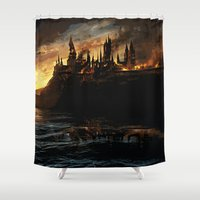 dumbledore Shower Curtains featuring Harry Potter - Hogwart's Burning by Juniper Vinetree