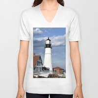 maine V-neck T-shirts featuring Coastal Maine by Jessi Trafton
