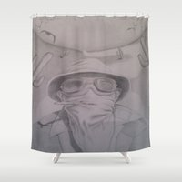 fear and loathing Shower Curtains featuring Fear and Loathing with Dr. Gonzo  by Steve Cook