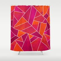 hot pink Shower Curtains featuring Hot Pink & Orange stone by Elisabeth Fredriksson